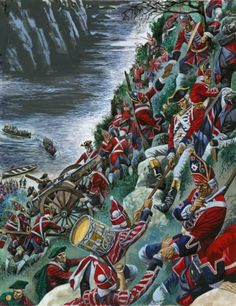 Detail of The British soldiers make the arduous ascent of the Heights of Abraham to take Quebec by Peter Jackson