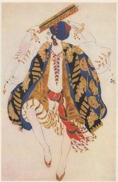 "Costume design (1910), by Léon Bakst [Левъ Самуиловичъ Бакстъ] (1866-1924), for a Jewish dancer with tambourine, in ""Cléopâtre"" [Ночь въ Египтѣ] (1900), by Anton Arensky [Антонъ Степановичъ Аренскiй] (1861-1906)."