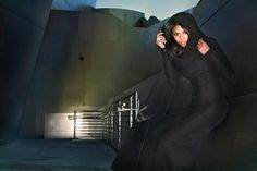 Lloyd Klein Vouture Onyx Matte Silk Jersey evening gown with long sleeves and dramatic cowled collar/ hood Sept 2012   photographed by James Hickey and styled by Mikel Padilla