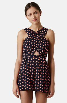 Topshop Heart Print Wrap Front Romper available at #Nordstrom
