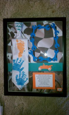 """Father's Day Gift Idea: White tie, used non-toxic finger paint and fabric paint, with my neice's prints. Found a cute poem online, made a few tweaks. Used scrap book paper for all the little details and used a shadow box frame. Don't have the last minute picture of the """"daddy and daughter"""" or """"grandfather and granddaughter"""" or """"great grandfather and great granddaughter"""" in the frame. Picture would be of the men wearing the ties with the son/daughter."""