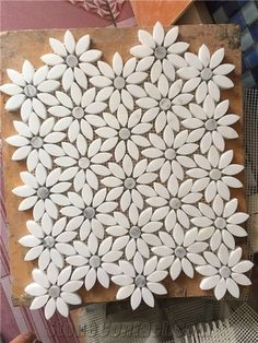 White Marble Stone Mosaic, Greece Crystal White Marble with Italy Carrara Grey Marble Mosaic Tile Design, Flower Design Natural Stone Mosaic on Sales from China Factory - Terry Stone Co.,Ltd