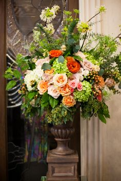 Coral, Peach, White, Orange & Green Altar Piece by Lush Couture Floral , lushcouturedesign.com