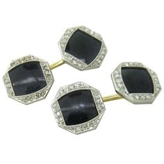Art Deco Onyx Rose Cut Diamond 14K Gold Platinum Cufflinks