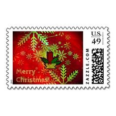 Christmas red custom stamp with snowflakes