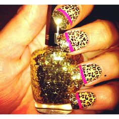Glam nails! Leopard pink and gold glitter. <3 not sure if I like it or love it. Guess I will have to try it first