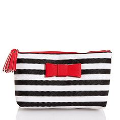 KENNETH COLE REACTION Cosmetic Organizer Makeup/Toiletry Bag ((Red, White & Black) Tassel Zipper Makeup/Cosmetic Bag)