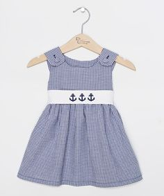 Navy Gingham Anchor Sash Jumper - Infant