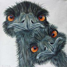 "Emu's Art .. by Fiona Groom.. Óye"" acrylic on canvas www.fmgfionagroomvisualartist.com"