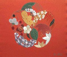 Japanese embroidery, Spiraling Flowers of the Four Seasons.