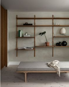 Copenhagen-based lifestyle brand and design studio Frama have conceived a peaceful, minimalist home set in a former horse stables dating back to Regal Design, Design Design, Interior Minimalista, Wall Shelves Design, Unique Wall Shelves, Shelving Decor, Open Shelving, Terrazzo Flooring, Minimal Home