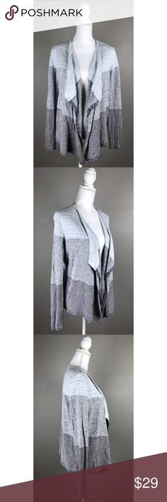 """EUC Lou & Grey Ombre Striped Waterfall Cardigan In EXCELLENT condition! Like NEW!  Lou & Grey. Small. Light blue & Dark. Navy blue. Medium-weight fabric. Long sleeves, waterfall open front cardigan sweater. Picturesare a part of the description.  {Measurements taken flat without stretching} Armpit to armpit approximately 18.5"""" Length approximately 24"""" - 29""""  FAST SHIPPING!Usually ships same or next business day!! {Seller's note:B2} Lou & Grey Sweaters Cardigans"""