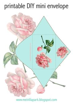 FREE printable vintage rose mini envelope  (-you even can use the background rose blossoms as DIY stickers ^^)