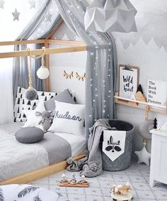 Love how cozy this toddler boy's room is. Minimal decoration, yet so adorable!