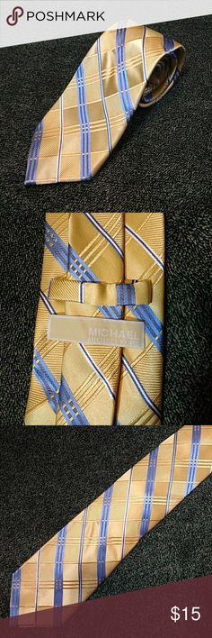 MICHAEL Michael Kors Gold & Blue Silk Tie Lovely pale, golden yellow with cornflower blue and white plaid design. 100% silk. This beauty is in excellent condition! MICHAEL Michael Kors Accessories Ties