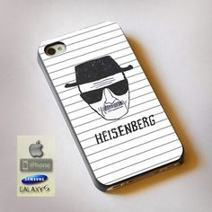 "Breaking Bad Heisenberg Drawing Print On Hard Plastic For iPhone 4/4s, Black Case  This case is available for: iPhone 4/4S iPhone 5/5S iPhone 6 4.7"" screen Samsung Galaxy S4 Samsung Galaxy S5 iPod 4 i"
