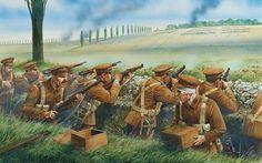 Británicos de la BEF combatiendo en algún lugar de Francia o Bélgica durante 1914, cortesía de Peter Dennis. Más en www.elgrancapitan.org