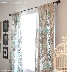 Sewing Curtains Stenciled drop cloth curtains - Stenciled curtains using Cutting Edge Stencils and paint to create DIY floral curtains, Stenciled Curtains, Drop Cloth Curtains, Rustic Curtains, Grey Curtains, Floral Curtains, Curtains Living, Hanging Curtains, Window Curtains, Long Curtains