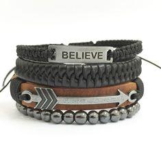 Kit 4 pulseiras masculinas couro believe
