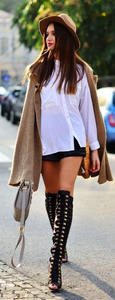 Peep Toe Lace Up Over-the-knee Boots