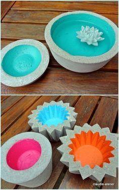 Painted concrete bowls