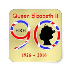 A fun sticker to commemorate Queen Elizabeth II of England's ninetieth birthday in 2016, ideal for decorations at British celebration Street Party or use it as a keepsake of the special Royal occasion.