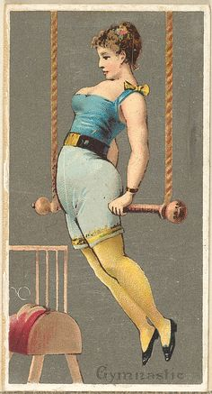 Issued by Goodwin & Company. Gymnast, from the Occupations for Women series (N166) for Old Judge and Dogs Head Cigarettes, 1887. The Metropolitan Museum of Art, New York. The Jefferson R. Burdick Collection, Gift of Jefferson R. Burdick (Burdick 214, N166.27) #Olympics #London2012