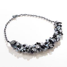 Black/Grey/White Wire Crochet Statement Necklace by ChristineBorn on Etsy