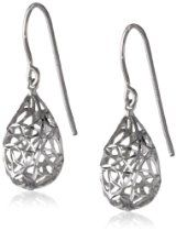 Sterling Silver Pear Dangle Earrings Filigree Rhodium plated