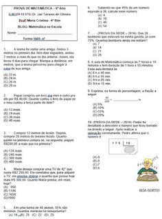 Matemática da Escola: 6º ano