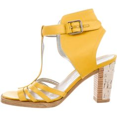 Pre-owned Laurence Dacade x Thakoon Satin Multistrap Sandals ($145) ❤ liked on Polyvore featuring shoes, sandals, gold, yellow shoes, buckle shoes, buckle sandals, yellow sandals and satin sandals