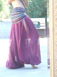 Burgundy Sheer Side Slit Harem Pants - Polyester Pantaloons - ATS Belly Dance pants - Dance Practice pants - MVfUT9DLY