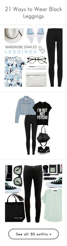 """21 Ways to Wear Black Leggings"" by polyvore-editorial ❤ liked on Polyvore featuring blackleggings, waystowear, Polo Ralph Lauren, Monki, Calypso Private Label, Marie Turnor, Manolo Blahnik, Estée Lauder, T By Alexander Wang and Vans"