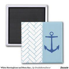 White Herringbone and Navy Anchor Magnet