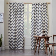 Cotton Canvas Zigzag Curtain - Feather Gray | west elm