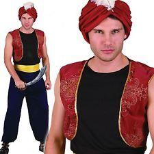 MENS ARABIAN NIGHTS BANDIT GENIE ALADDIN PANTO FANCY DRESS COSTUME & TURBAN HAT