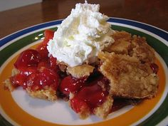 Dump Cake - This is my mom's favorite pot-luck recipe, but she uses 1 can cherry pie filling and 1 can crushed pineapple in juice (undrained). She also adds 1 cup chopped nuts atop the cake mix. Serve warm with ice cream. Delicious!