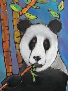 some nicely done animals. Glue + chalk pastel