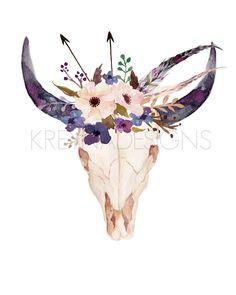 Cow Skull Printable Wall Art Gallery Wall by KirraReynaDesigns