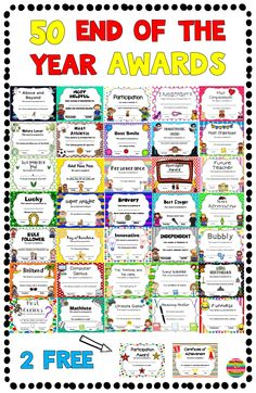 End of the Year Awards is part of Classroom awards End of the Year Awards for all students! Your students will love how special they will feel with their own unique, individual award Below is a lis - Pre K Graduation, Kindergarten Graduation, In Kindergarten, Graduation Ideas, Teacher Awards, Student Awards, End Of Year Activities, End Of School Year, Quotes About Motherhood