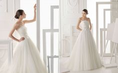 Soft tulle and lace strapless bridal dress with beading and flower in a natural colour. Style: OCAÑA