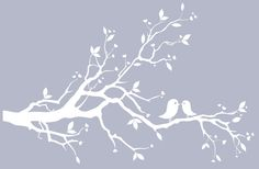 Pink tree branch wall decal pink lovebirds wall art pink wall silhouette decals. $69.00, via Etsy.
