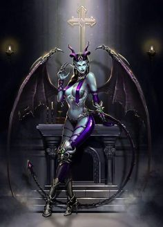 winged she demon Fantasy Demon, Fantasy Warrior, Dark Fantasy Art, Fantasy Girl, Fantasy Artwork, Dark Art, Fantasy Creatures, Mythical Creatures, Fantasy Characters