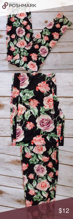 One Size Black Leggings with Roses One size fits 2-12 Super super soft leggings! Can compare to Lularoe ;) 92% Polyester 8% Spandex Label: New Mix High waist Full length 1in. elastic waist band  Price firm. Bundles only. New Mix Pants Leggings