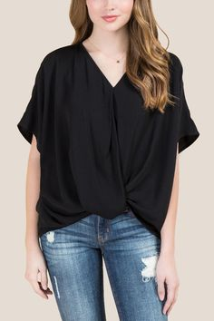 07131b596c8e Danielle Short Sleeve Twist Front Top l francesca s