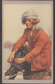 Ice Skating Lady Vintage Winter - Also see N. Vintage Pictures, Vintage Images, Vintage Cards, Vintage Postcards, Skating Pictures, Art Deco Artists, Creation Photo, Winter Illustration, Winter Images