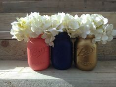 Coral and Navy, Coral Navy and Gold Painted Mason Jars, Coral and Navy Wedding Decor, Navy and Coral Hand Painted Mason Jars, Centerpieces by CountryHomeandHeart on Etsy https://www.etsy.com/listing/270440387/coral-and-navy-coral-navy-and-gold