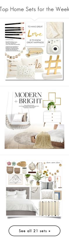"""""""Top Home Sets for the Week"""" by polyvore ❤ liked on Polyvore featuring interior, interiors, interior design, home, home decor, interior decorating, Concepts in Time, Nordstrom, Fujifilm and StyleNanda"""
