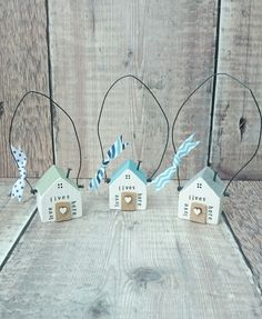 Tiny wooden house hangers www.DriftwoodSails.etsy.com