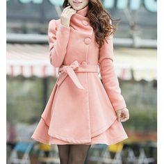 Charming Turn-Down Collar Belt Embellished Pelpum Top Long Sleeves Slimming Overcoat For Women